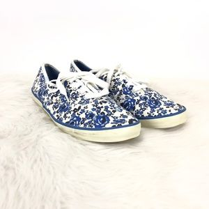 Keds Blue White Floral Canvas Sneakers